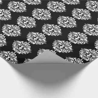"""Tribal Mask - Black Glossy Wrapping Paper, 30"""" x 6 Wrapping Paper"""