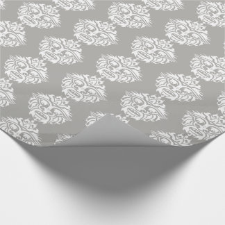 """Tribal Mask - Grey Glossy Wrapping Paper, 30"""" x 6' Wrapping Paper"""
