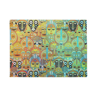 Tribal Mask Pattern Translucent with Gold Doormat