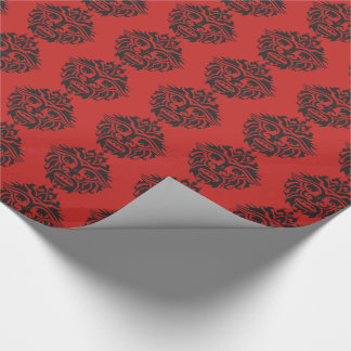 """Tribal Mask - Red Glossy Wrapping Paper, 30"""" x 6' Wrapping Paper"""
