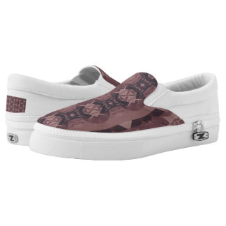 Tribal Mauve Geometric Zipz Slip On Sneakers Shoes