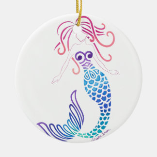 Tribal Mermaid Round Ceramic Ornament