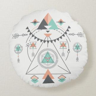 Tribal Modern Colorful Geometric Totem Round Pillow