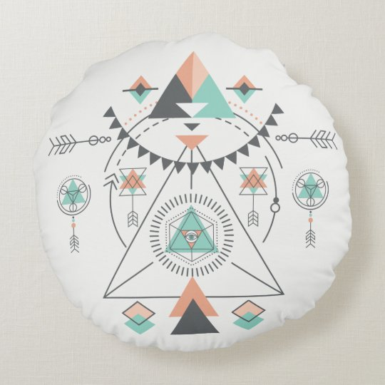 Tribal Modern Colourful Geometric Totem Round Pillow