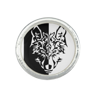 Tribal Modern Wolf Photo Rings