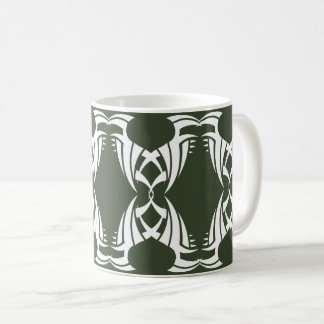 Tribal mug 12 white to over green