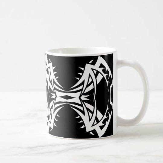 Tribal mug 14 white to over black