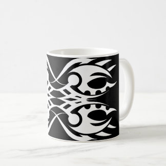 Tribal mug 18 white to over black