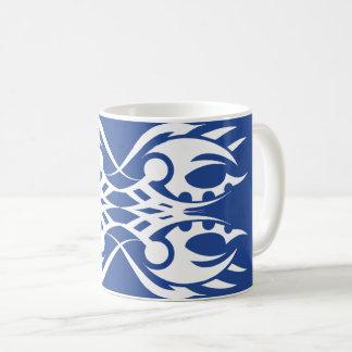 Tribal mug 18 white to over blue