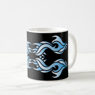 Tribal mug 8 blue over black