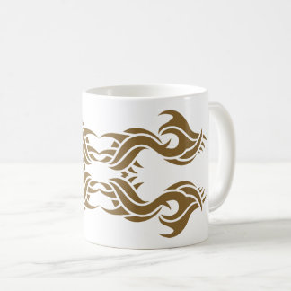Tribal mug 8 gold to over white