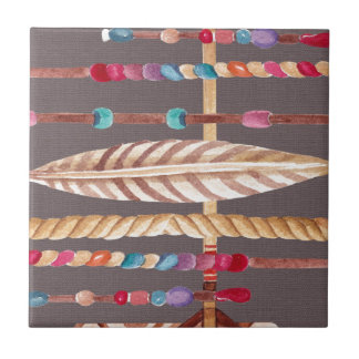 Tribal Native Beads Arrows Rope Pattern Collage Tile