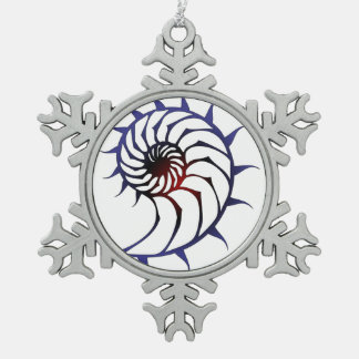 Tribal Nautilus Snowflake Pewter Christmas Ornament