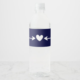 Tribal Navy Blue Hearts & Love Arrows Wedding Water Bottle Label