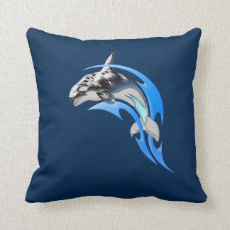 Tribal Orca Throw Pillow