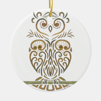 Tribal Owl Ceramic Ornament