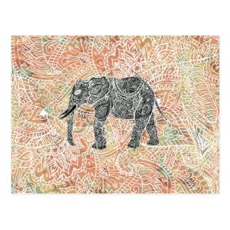 Tribal Paisley Elephant Colorful Henna Pattern Postcard