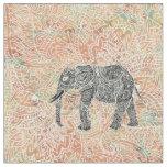 Tribal Paisley Elephant Colourful Henna Pattern Fabric
