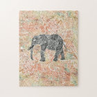 Tribal Paisley Elephant Colourful Henna Pattern Jigsaw Puzzle