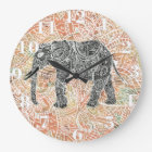 Tribal Paisley Elephant Colourful Henna Pattern Large Clock