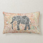 Tribal Paisley Elephant Colourful Henna Pattern Lumbar Pillow
