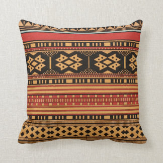 Tribal Pattern Colorful Graphic Design Bold Orange Throw Pillow
