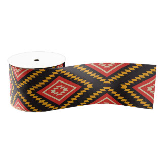 Tribal pattern grosgrain ribbon