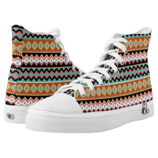 Tribal Pattern High Top ZipZ Tennis Shoes