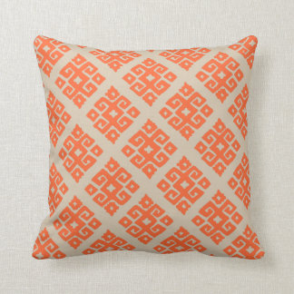Tribal pattern ivory orange lumber pillow