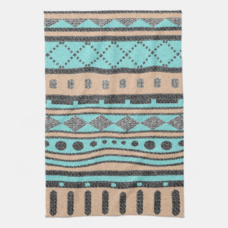 Tribal Pattern Peach And Turquoise Hand Towel