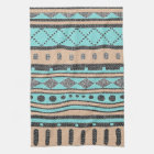 Tribal Pattern Peach And Turquoise Kitchen Towel