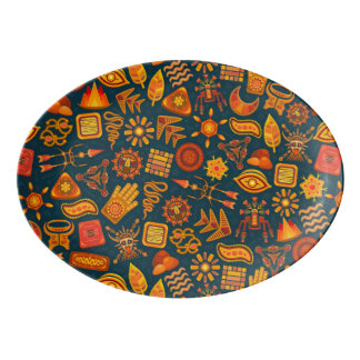 Tribal Pattern Porcelain Serving Platter