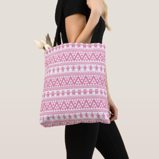 Tribal pink and white pattern tote bag
