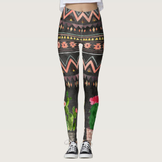 Tribal print and succulents boho style leggings