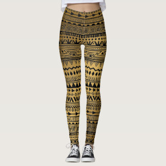 Tribal Print Black and Gold Aztec Pattern Boho Leggings