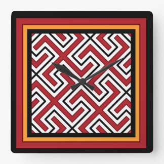 Tribal Print Square Wall Clock