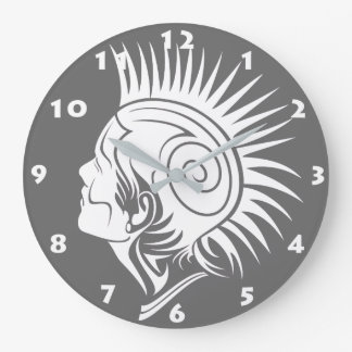 TRIBAL PUNK DESIGN (BLACK AND WHITE) Wall Clock