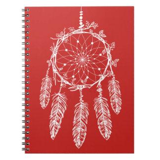 Tribal Red & White Native American Dream Catcher Notebook