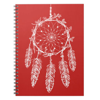 Tribal Red & White Native American Dream Catcher Spiral Notebook