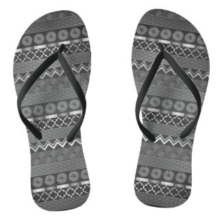 Tribal silver grey pattern flip flops