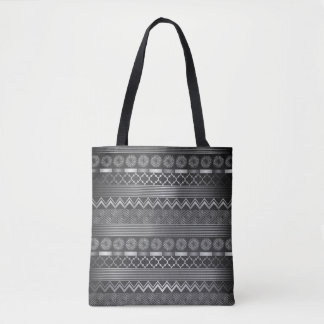 Tribal silver grey pattern tote bag