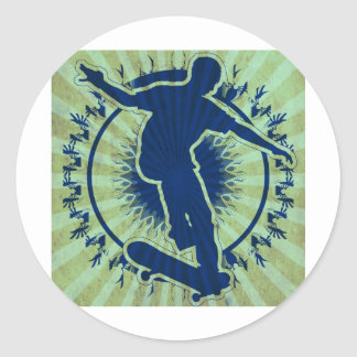 Tribal Skateboarder Round Sticker
