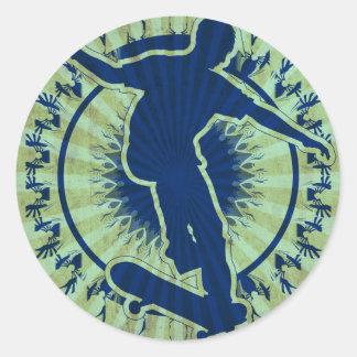 Tribal Skateboarder Round Sticker