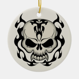 Tribal Skull Ceramic Ornament