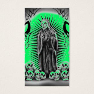 Tribal Skull Green Grim Reaper Business Card
