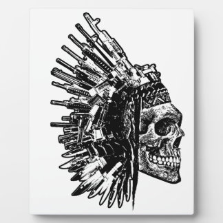 Tribal Skull, Guns and Knives display Plaque