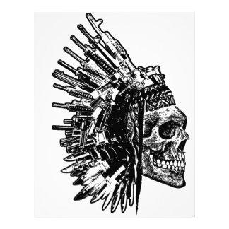 Tribal Skull, Guns and Knives Graphic T-shirt Letterhead