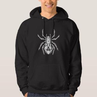 Tribal Spider Hooded Long Sleeve Black T Shirt