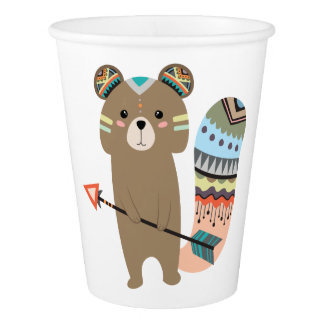 Tribal Squirrel Paper Cups