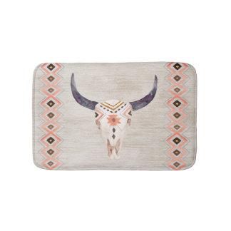 Tribal Steer Skull Southwestern Bath Mat